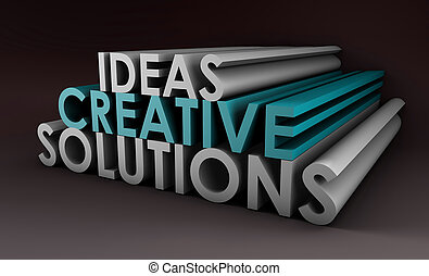 Creative Ideas and Solutions as 3d Illustration