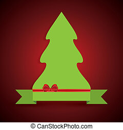 Creative illustration of a green Christmas tree on ribbon