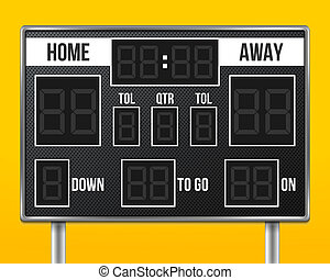 Creative illustration of american football scoreboard with infographics isolated on background. Art design sport game score with digital LED dots. Abstract concept graphic element.