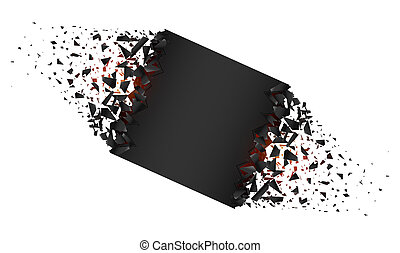 Creative illustration of blank banner with explosion, debris isolated on background. Art design. Cracked shape shatters into pieces. Abstract concept graphic geometric element