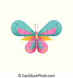Creative illustration of bright butterfly with abstract pattern on the wings. Flat vector icon with gradients and texture. Decorative element for book or wall decor