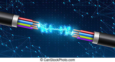 Creative illustration of electric glowing lightning between colored break cable, copper wires with circuit sparks isolated on background. Art design. Abstract concept element