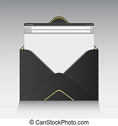 Creative illustration of email message interface with send form isolated on background. Art design E-mail blank mockup template. Abstract concept mail page interface web panel.