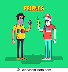 Creative illustration of friendship between mexicans and americans