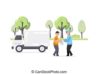 Creative illustration of Garbage truck and worker
