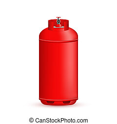 Creative illustration of gas cylinder, tank, balloon, container of propane, butane, acetylene, carbon dioxide isolated on background. Art design template. Abstract concept element