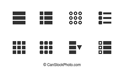Creative illustration of hamburger UI, UX menu user interface navigation icons isolated on background. Art design web navigation interface button controls. Abstract concept graphic element