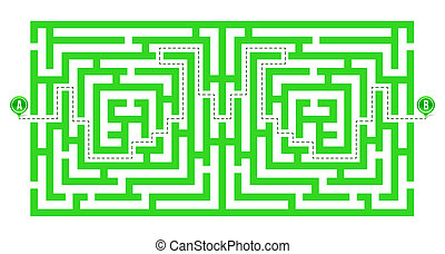 Creative illustration of labyrinth, maze with entry and exit isolated on background. Art design. Abstract concept paths to deadlock, entrance, exit, right way to go graphic element