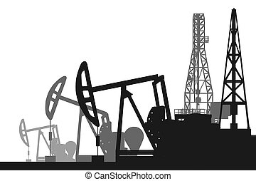 Creative illustration of oil pump industry silhouette, field pumpjack, rig drill over sunset isolated on background. Art design template. Abstract concept graphic equipment element