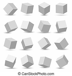Creative illustration of perspective projections 3d cube model icons set with a shadow isolated on background. Art design geometric surfac rotate. Abstract concept graphic element