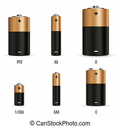 Creative illustration of realistic alkaline battery set with diffrent size isolated on background. Art design blank mockup template. Abstract concept graphic element