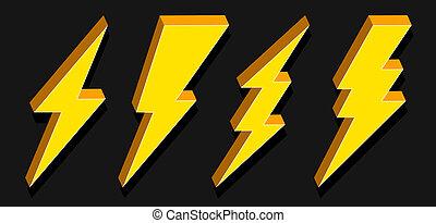 Creative illustration of thunder and bolt lighting flash...