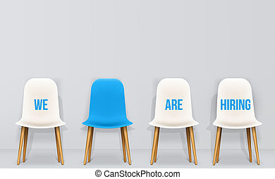 Creative illustration of we are hiring - recruiting concept, resources job employment career jobless interview, chairs isolated on background. Art design template. Abstract graphic element