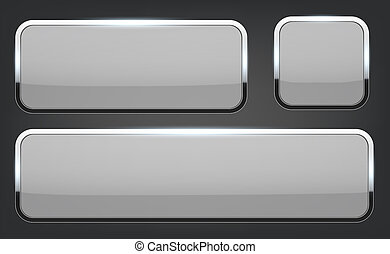 Creative illustration of white 3d glass buttons with chrome frame with shadow falling isolated on background. Art design. Abstract concept graphic rectangle, oval web icons element