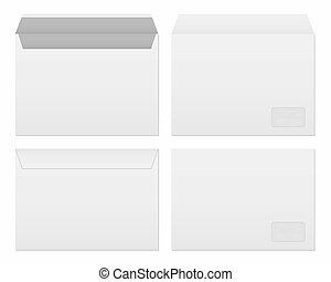 Creative illustration of white blank paper envelopes template set isolated on background. International standard sizes. Art design empty example packing letter. Graphic element