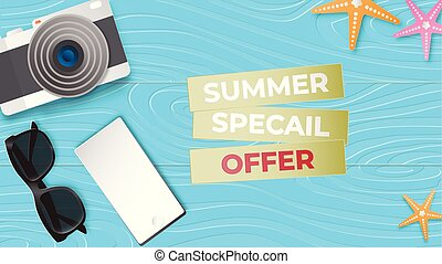 reative illustration summer sale banner with sun glasses, ...
