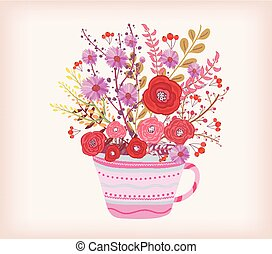 Creative Illustration with teacup full of watercolor flowers