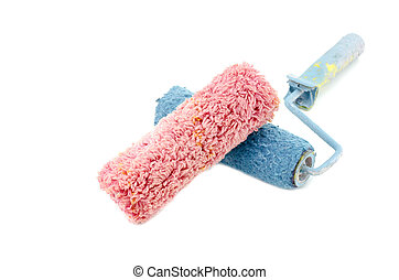 creative image of dirty and reused red and blue roller paint...