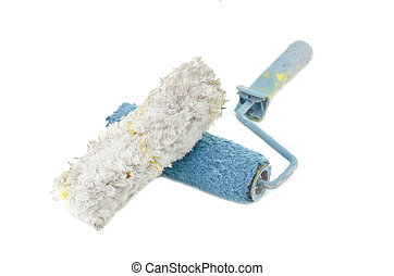 creative image of dirty and reused white and blue roller...