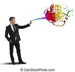 Creative in business concept with businessman and spry