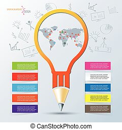 Creative infographic design, can be used for business brochure, presentation template, education process