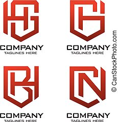 letter with shield logo set vector