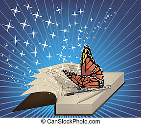 A book with a a written poem and a butterfly on a pen