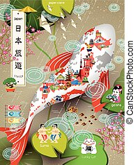Japan travel poster - creative Japan travel poster with map ...