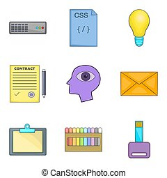 Creative job icons set, cartoon style