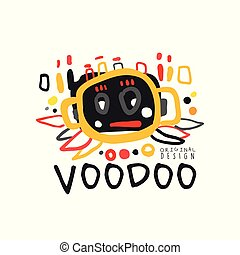 Creative kid s style drawing Voodoo magic logo or label with abstract silhouette of human s head. Hand drawn mystical vector illustration