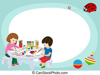 Creative kids frame banner vector illustration. Girl and boy drawing, painting, cutting paper, sketching. Education, enjoyment concept. Pencils, watercolor, plasticine. Playing with toys.