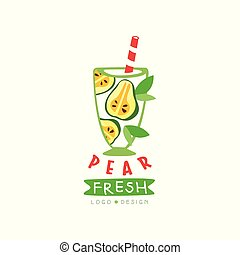 Creative label with glass of fresh fruit beverage. Natural drink from ripe pear. Vegan nutrition. Hand drawn vector emblem