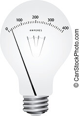 Creative lamp with scale ammeter. Vector illustration.