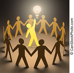 Creative Leader - Leader at the center of the group with a...