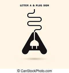 Creative letter A icon abstract logo design vector template with electrical plug symbol. Corporate business creative logotype symbol.