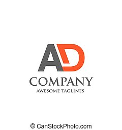 creative letter AD logo. Abstract business logo design...