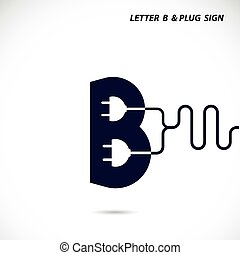 Creative letter B icon abstract logo design vector template with electrical plug symbol. Corporate business creative logotype symbol.