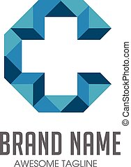 letter c with Cross plus medical logo icon