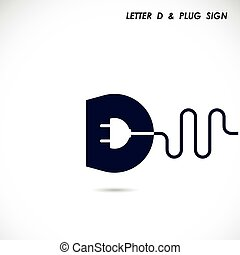 Creative letter D icon abstract logo design vector template with electrical plug symbol. Corporate business creative logotype symbol.