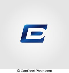 Creative Letter E and D Logo concept design with blue color...