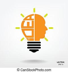 Creative light bulb, head symbol, Business and ideas concepts.