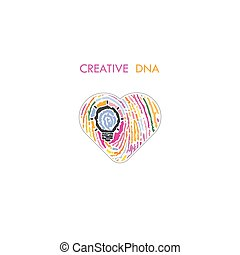 Creative light bulb idea concept and fingerprint pattern with heart symbol. Education or business ideas.Creativity or innovation concept.Constructionism and Knowledge management.