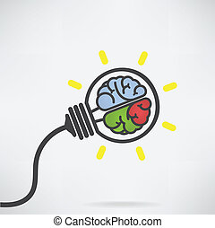 Creative light bulb Idea concept ,brain sign