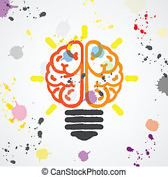 Creative light bulb Idea concept ,colorful bran symbol