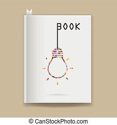 Creative light bulb Idea concept on blank book cover