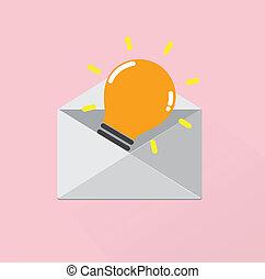 Creative light bulb Idea concept with grey letter enveloppe...