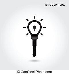 Creative light bulb idea concept with padlock symbol. Key of idea. Business ideas