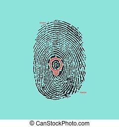Creative light bulb idea concept with fingerprint symbol. Education sign , business ideas. Vector illustration