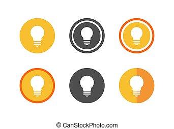 Creative light bulb lamp logo icon set - Vector