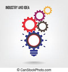 Creative light bulb sign ,industrial symbol